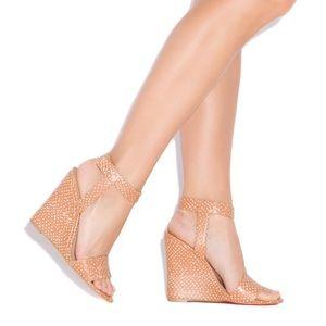 ShoeDazzle Laney Tan Polka Wedges